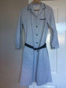 Alexandra P24 Navy Pattern Workwear Dress  Dinner Lady Cleaning Nurse Size UK 8