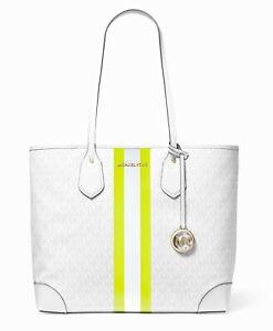 Michael Kors Bag Shopper Eva LG Tote Bag White Neon Yellow New