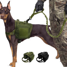Heavy Duty K9 Military Tactical Dog Vest & Leash Molle Harness Hunting Training