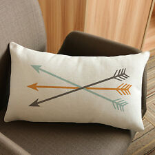 Arrow Print Rectangle Sofa Bed Home Decor Festival Pillow Case Cushion Cover Black