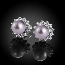 Women 925 Silver Plated Rhinestone Crystal Pearl Elegant Ear Stud Earrings Hot