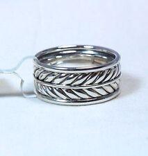 David Yurman Men's Chevron 10mm Band Ring Sterling Silver Size 10 $350 New