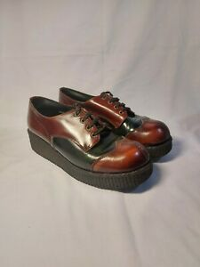 Gorgeous Vintage 70's Brothel Creepers Platform Shoes Brown and Green Size 7.5
