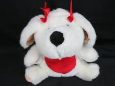 VINTAGE 1993 VALENTINE HEART BELLY SIT UP WHITE PUPPY DOG RED BOWS PLUSH LOVEY