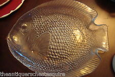 """8 Vintage Pasabahce Turkey Clear Glass Fish Shaped trays 10"""" [*glass1]"""