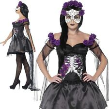 Ladies Day of The Dead Senorita Costume Skeleton Halloween Fancy Dress 01- 43737 S