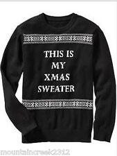 New OLD NAVY Boy's CHRISTMAS Sweater Size 6 7 HOLIDAY Cotton Pullover Black S