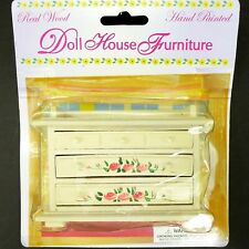 Doll House Furniture Baby Changing Table Real Wood Hand Painted White Pink Roses