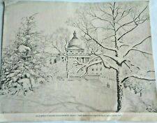 Original Vintage Artist Warren Upham Boston State House Signed Print Drawing Art
