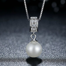 wostu shine S925 Sterling Silver Necklace With crystal and Pearl Pendant Chain
