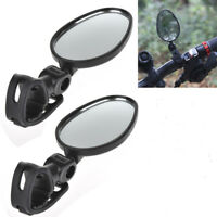 2*For Bike Bicycle Cycling Universal Mini Rotaty Rearview Handlebar Glass Mirror