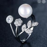 Schmucksache-Silber überzogener Zircon-Blumen-Blätter-Perlen-geöffneter Ring neu