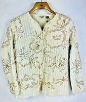 Vintage Laura Ashley Womens Large Applique Jacket Full Zip