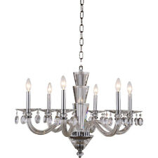 CRYSTAL CHANDELIER FOYER DINING LIVING ROOM KITCHEN LIGHTING 6 LIGHT CHANDELIERS
