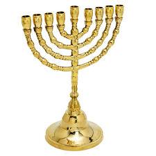 """Vintage candle holder brass copper Israel 7"""" Hanukkah Menorah from Jerusalem"""