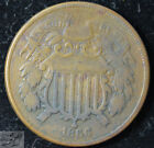 1866 Two Cent Piece, Very Fine Condition, Civil War Era, Free Shipping, C5480 for sale