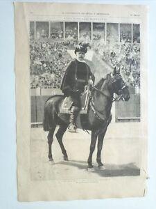 1885 Xilografía: Tipos Populares Madrileños El Alguacil de la Plaza de Toros