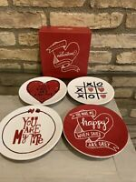 Pottery Barn VALENTINE Day PLATE Appetizer Dessert Kitchen Table Party Set 4 NEW