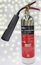 OFFER!! 2 kg Carbon Dioxide CO2 Polished Chrome Silver Fire Extinguisher-FSS UK