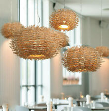Bird Nest Pendant Lamp Light Wicker Wood Handmade Rattan Weaving Chandelier