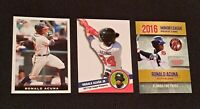 LOT of (3) Ronald Acuna ROOKIE w/ 2018 #34 leaf, 2017 prospects, 2016 minor psa