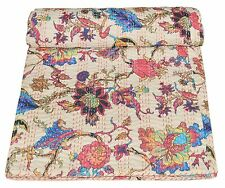Indian Handmade Floral Print Queen Cottton Kantha Throw Vintage Indian Bedspread