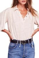 Free People Rush Hour Top Blouse Women Beige Sz L NEW NWT 266