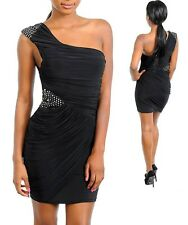 Sz M 10 12 Black One Shoulder Sequins Cocktail Party Wear Sexy Club Dress Chic