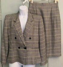 Vntg Liz Claiborne Blk White Plaid 2 Piece Suit Petite Skirt Sz 10P Jacket Sz 6P