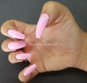 24 Hand Painted Gel False Nails Bright Baby Pink - Coffin Stiletto Square Oval