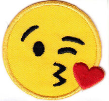 """EMOJIS LARGE -HEART KISS ON CHEEK (2"""" ROUND) - IRON ON OR STICK ON PATCH"""