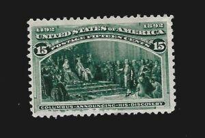 US 1893 Sc# 238 15 c  Fleet of Columbus Mint NG- Crisp Color - Centered