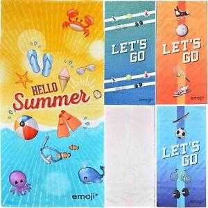 EMOJI Beach & Sports Towel Microfibre Pool Travel Yoga Gym Fast Dry Lightweight
