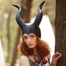 Women Maleficent Evil Horns Cap Halloween Witch Cosplay Headpiece Hat Headgear
