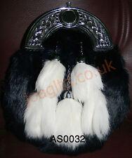 Rabbit Fur 5 Tassel Dress Kilt Sporran Black Enamel & Free Chan belt