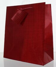 Medium Valentine's Day Gift Bag With Ribbon Handle & Tag - Red Metallic