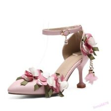 Elegant Women's Pumps Wedding Shoes Flower Pointed Toe Mid Stiletto Heel Party