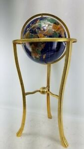 "World Globe Compass 36"" Lapis Gemstone Blue Handcrafted Gemstones Brass Base"