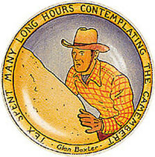 GLEN BAXTER ' TEX SPENT MANY LONG HOURS CONTEMPLATING THE CAMEMBERT' PLATE