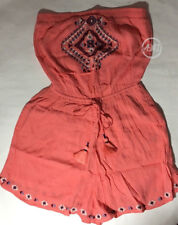 NWT Hollister Womens Strapless Embroidered Romper Coral $49.95 Size S