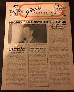 1963 SAN FRANCISCO Giants Jottings NEWSLETTER Spring Training WILLIE MAYS Dark