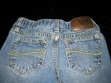 LEE DUNGAREES GIRL'S 4T RELAXED DENIM BLUE JEANS~GREY COTTON WAIST BAND!