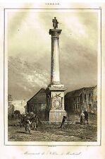 "Lemaitre's Canada - ""MONUMENT DE NELSON A MONTREAL""- Steel Engraving -1849"