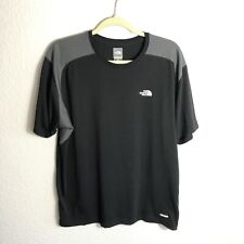 North Face Vaporwick Shirt Mens Large Black Gray Hiking Gym Stretch Breathable