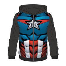 Marvel Comics Captain America Outfit Suit Sublimation Full Length Zipper Hoodie