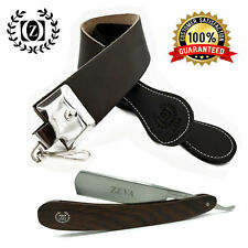 MEN'S WET SHAVE WOOD HANDLE STRAIGHT EDGE RAZOR WITH LEATHER SHARPENING STROP
