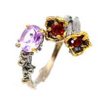 Fine Art Fashion Handmade Natural Amethyst 925 Sterling Silver Ring  / RVS107