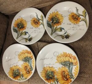 Italian plates by Valori Home Sunflower Dinner Plates (4)