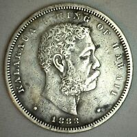 1883 Silver Kingdom of Hawaii Half Dollar Coin Extra Fine XF Hawaiian 50c Coin