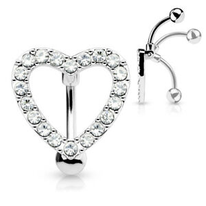 REVERSE DROP TOP DOWN BELLY BAR  HEART ENCRUSTED WITH CLEAR CRYSTAL Cz